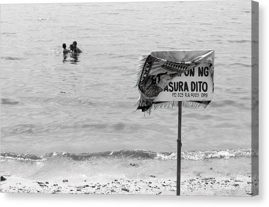 Not The Best Place To Swim 2 Canvas Print by Jez C Self