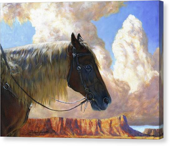 Bareback Canvas Print - Nothin But Distance by Richard Hescox