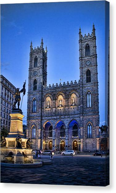 Vault Canvas Print - Notre Dame Basilica In Montreal At Dusk by David Smith