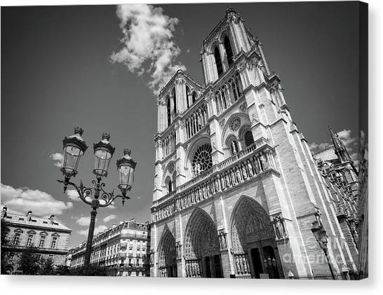 Notre Dame Canvas Print - Notre Dame Black And White by Delphimages Photo Creations