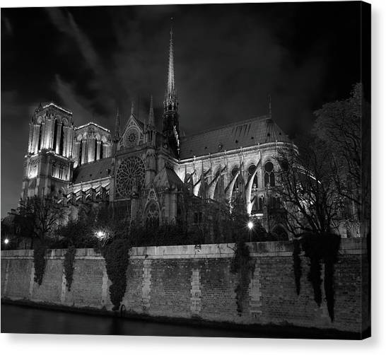 Notre Dame By Night, Paris, France Canvas Print