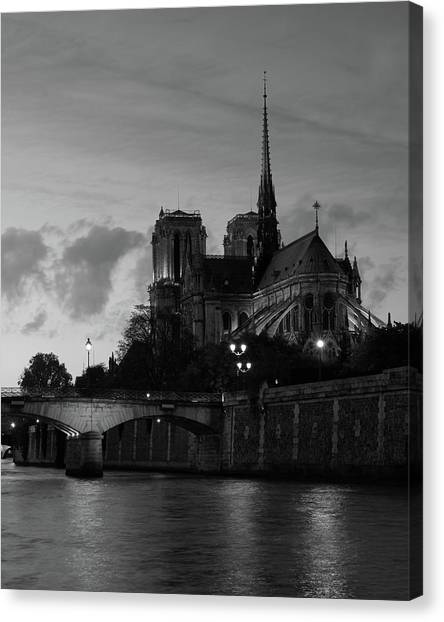 Notre Dame By Night Canvas Print