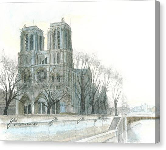 Canvas Print featuring the painting Notre Dame Cathedral In March by Dominic White