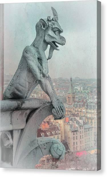 Mythological Creatures Canvas Print - Notre Dame Gargoyle by Joan Carroll