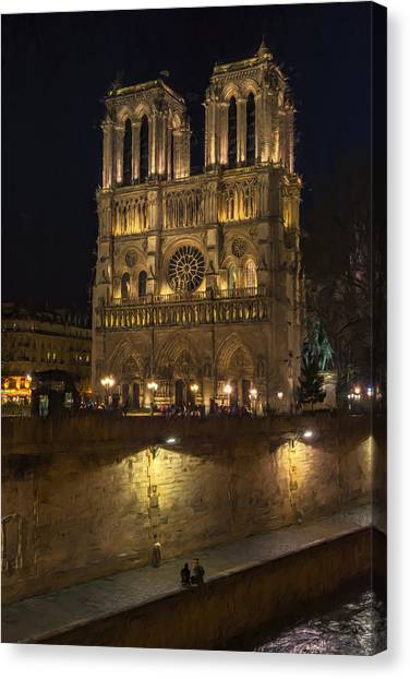Notre Dame Night Painterly Canvas Print