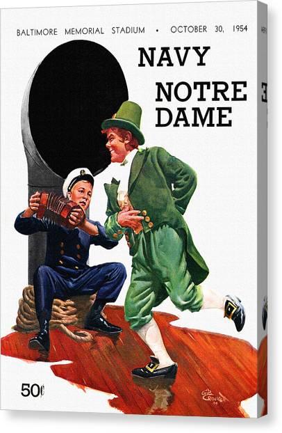 Notre Dame University Canvas Print - Notre Dame V Navy 1954 Vintage Program by John Farr