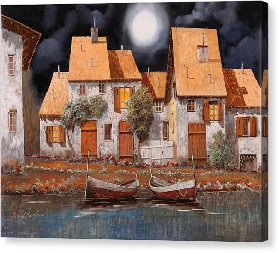 Villages Canvas Print - Notte Di Luna Piena by Guido Borelli