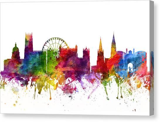 Nottinghamshire Canvas Print - Nottingham England Cityscape 06 by Aged Pixel