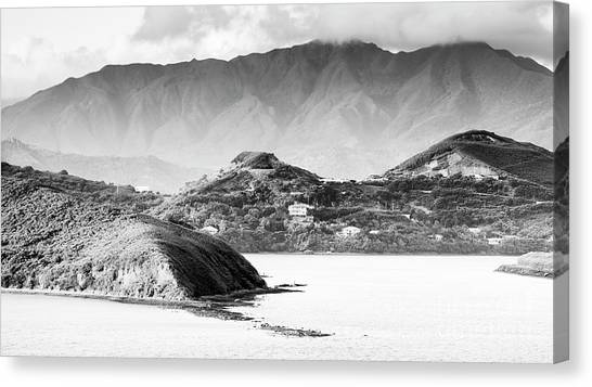 Canvas Print featuring the photograph Noumea Sunset Landscape Black And White by Tim Hester