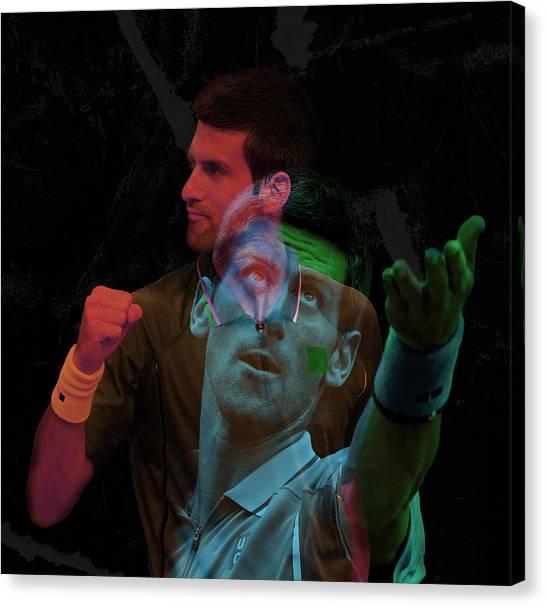 Novak Djokovic Canvas Print - Novak Djokovic Double Color Exposition by Srdjan Petrovic