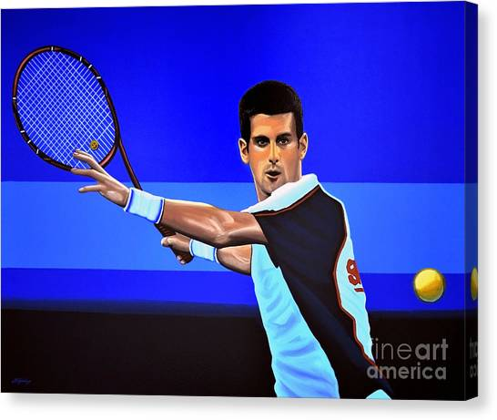 Roger Federer Canvas Print - Novak Djokovic by Paul Meijering