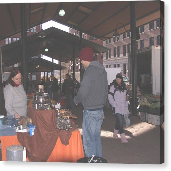 November Farmers Market Lowertown Canvas Print by Janis Beauchamp