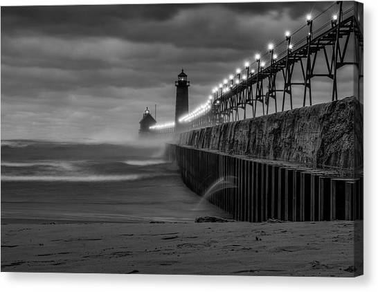 November Gales In Grand Haven Canvas Print