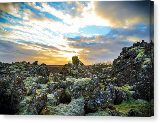 November Light Over Icelandic Lava Field Canvas Print