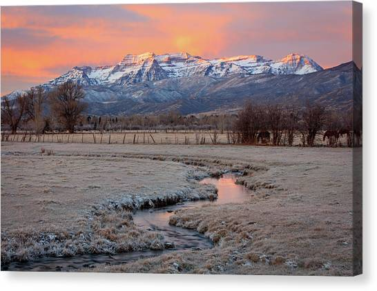November Sunrise In The North Fields. Canvas Print