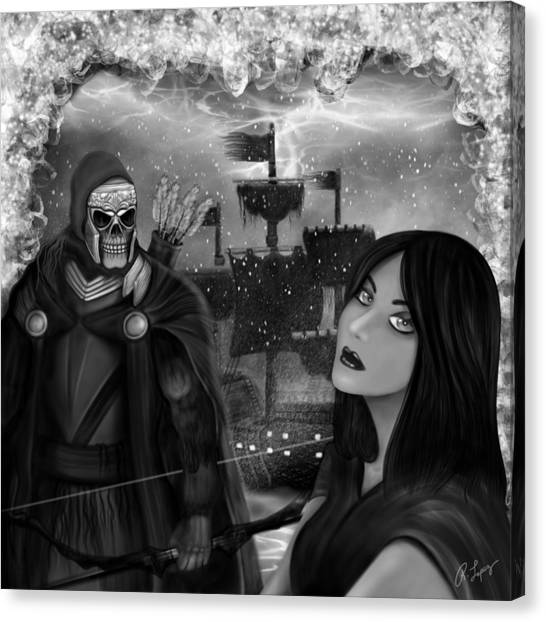Now Or Never - Black And White Fantasy Art Canvas Print