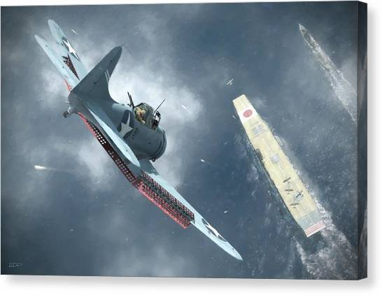 Battle Canvas Print - Nowhere To Hide - Painterly by Robert Perry