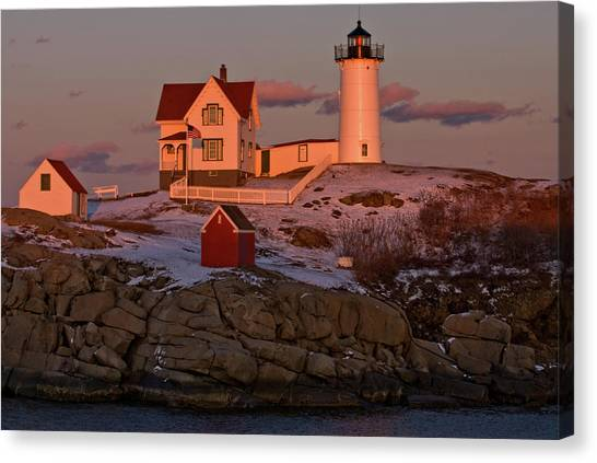 Nubble Light At Sunset Canvas Print