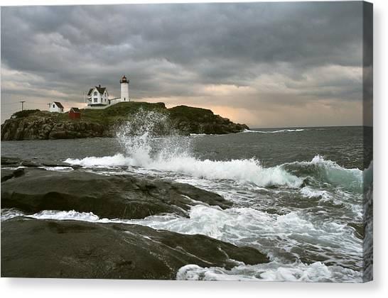 Nubble Light In A Storm Canvas Print