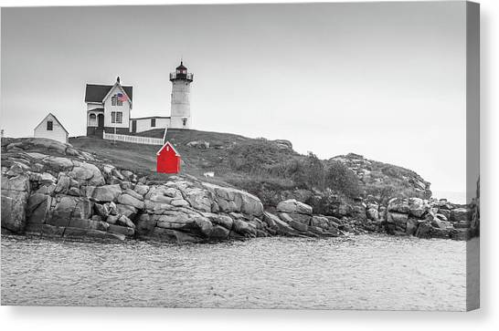 Canvas Print featuring the photograph Nubble Lighthouse In Color And Black And White by Doug Camara
