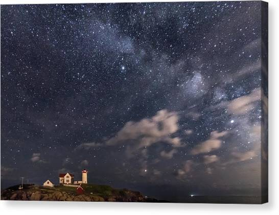 Nubble Lighthouse Under The Milky Way Canvas Print