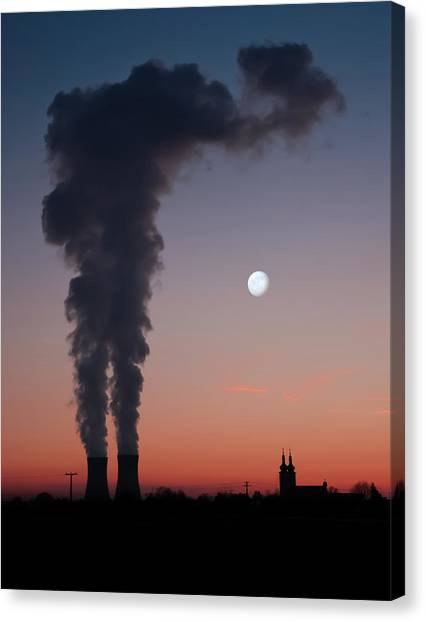 Nuclear Power Station In Bavaria Canvas Print by Michael Kohaupt