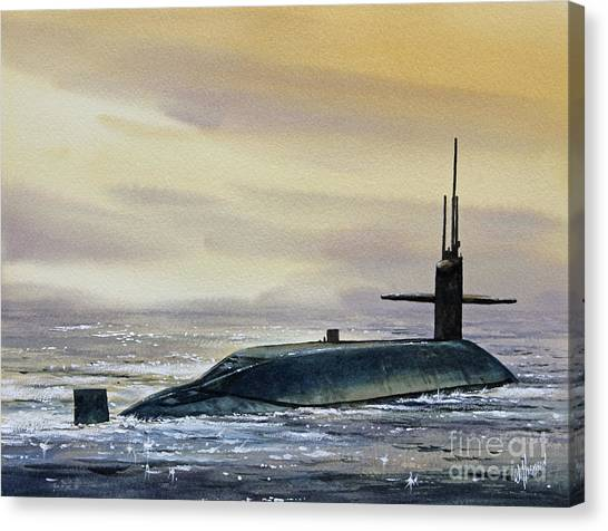 Submarine Canvas Print - Nuclear Submarine by James Williamson