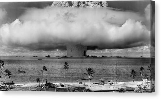 Bombs Canvas Print - Nuclear Weapon Test - Bikini Atoll by War Is Hell Store