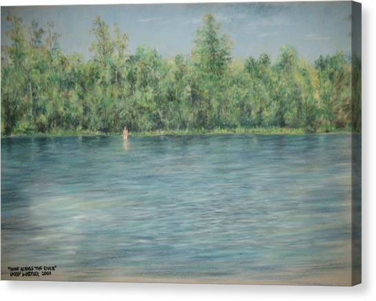 Nude Across The River Canvas Print by Larry Whitler