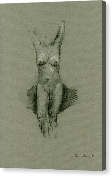 Nude Art Canvas Print - Nude Art Print Drawing by Juan  Bosco