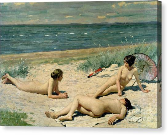 Sexuality Canvas Print - Nude Bathers On The Beach by Paul Fischer