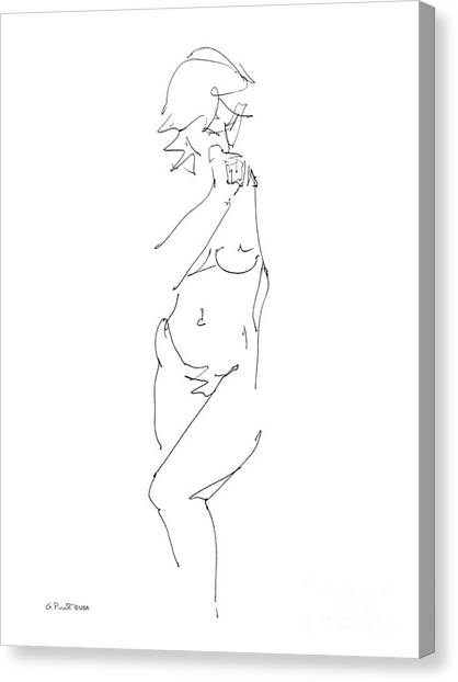 Nude Female Drawings 18 Canvas Print