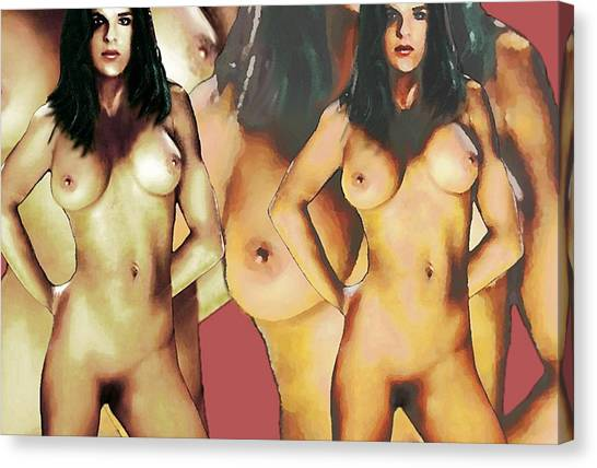 Nude Female Portrait Sara Standing2 Canvas Print