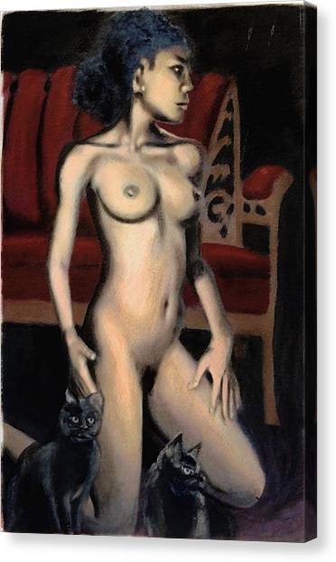 Nude Female Woman Kneeling With Cats Canvas Print