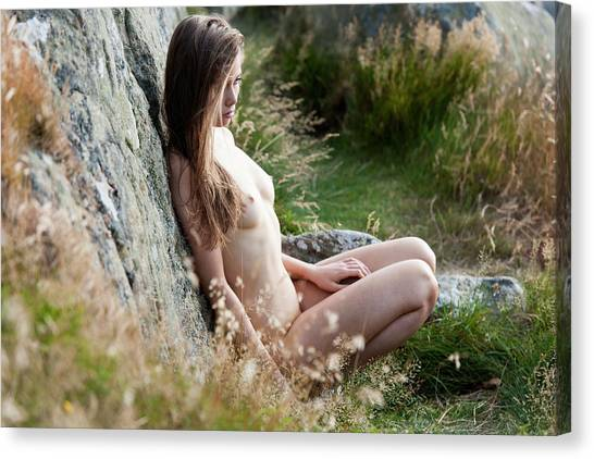 Nude Girl In The Nature Canvas Print
