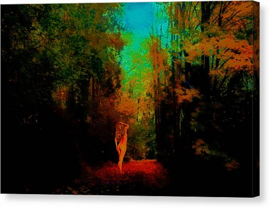 Nude In The Forest Canvas Print by Jeff Burgess