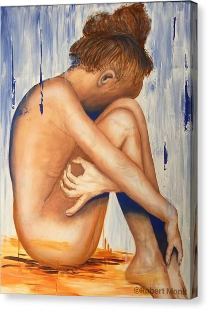 Nude In The Rain Canvas Print