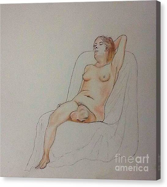 Nude Life Drawing Canvas Print
