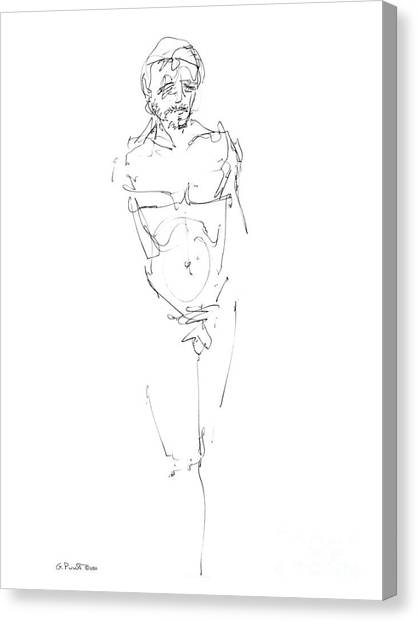 Nude Male Drawings 9 Canvas Print