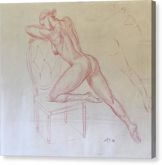Nude On Chair Canvas Print by Alejandro Lopez-Tasso