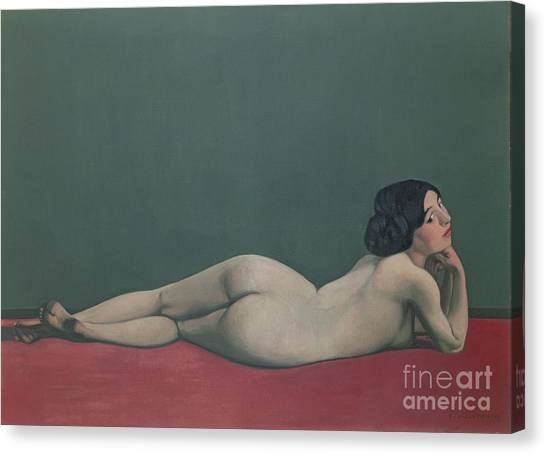 Chin Canvas Print - Nude Stretched Out On A Piece Of Cloth by Felix Edouard Vallotton