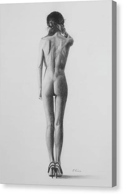 Nude Woman In High Heels Drawing Canvas Print