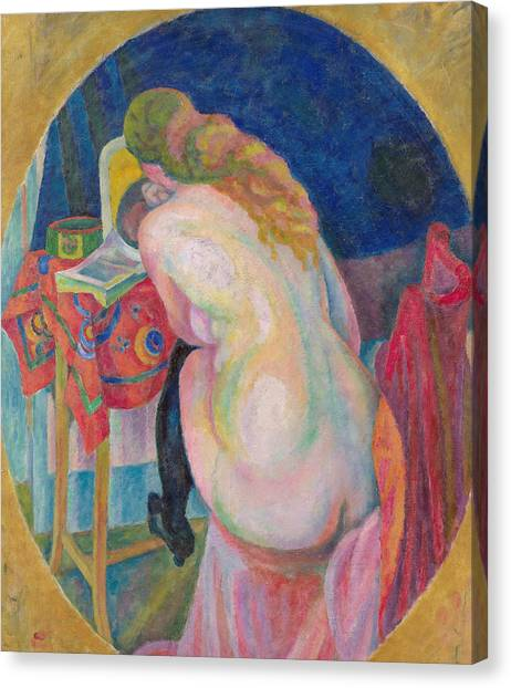 Divisionism Canvas Print - Nude Woman Reading by Robert Delaunay