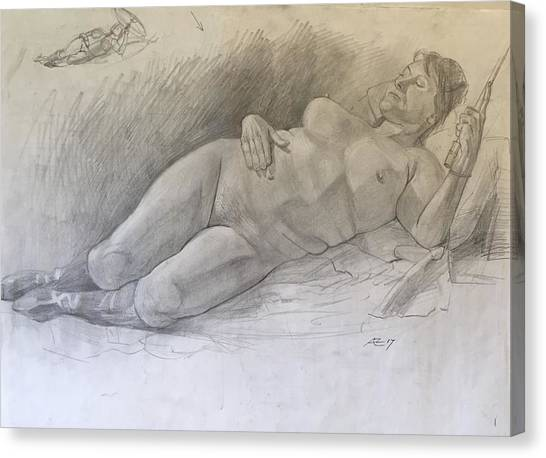 Nude Woman Resting Canvas Print by Alejandro Lopez-Tasso