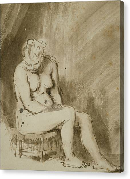 Baroque Canvas Print - Nude Woman Seated On A Stool  by Rembrandt