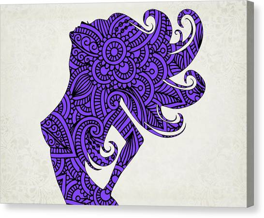 Sensual Canvas Print - Nude Woman Silhouette Ultraviolet by Ricky Barnard