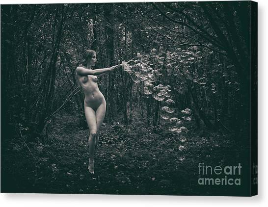 Nude Woman With Lots Of Bubbles Canvas Print
