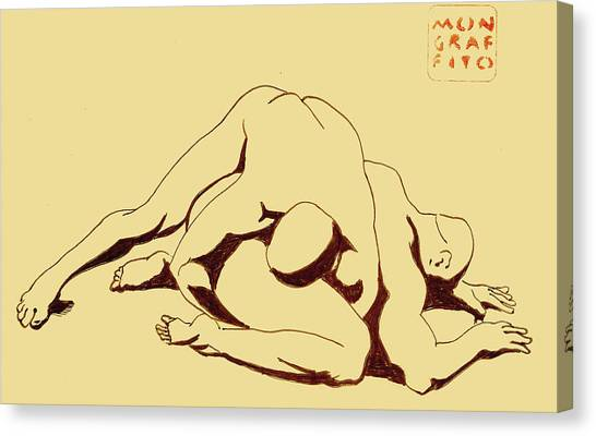 Nude Wrestlers 4 Canvas Print