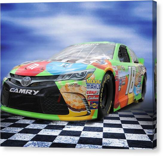 Kyle Busch Canvas Print - Number 18 by Lisa Hurylovich