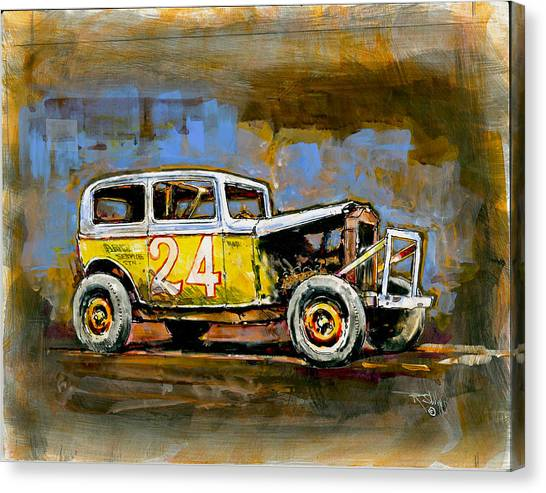 c5a6e1a7 Dirt Track Race Car Canvas Print - Number 24 by Ronald Shelley